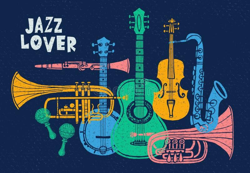 Strumenti musicali, chitarra, fiddle, violino, clarinetto, banjo, trombone, tromba, sassofono, sax Illustrazione disegnata a mano royalty illustrazione gratis