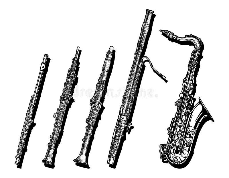 Strumenti musicali degli strumenti a fiato messi illustrazione vettoriale