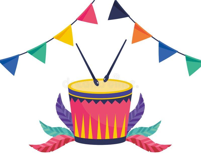 Strumenti musicali del tamburo illustrazione di stock