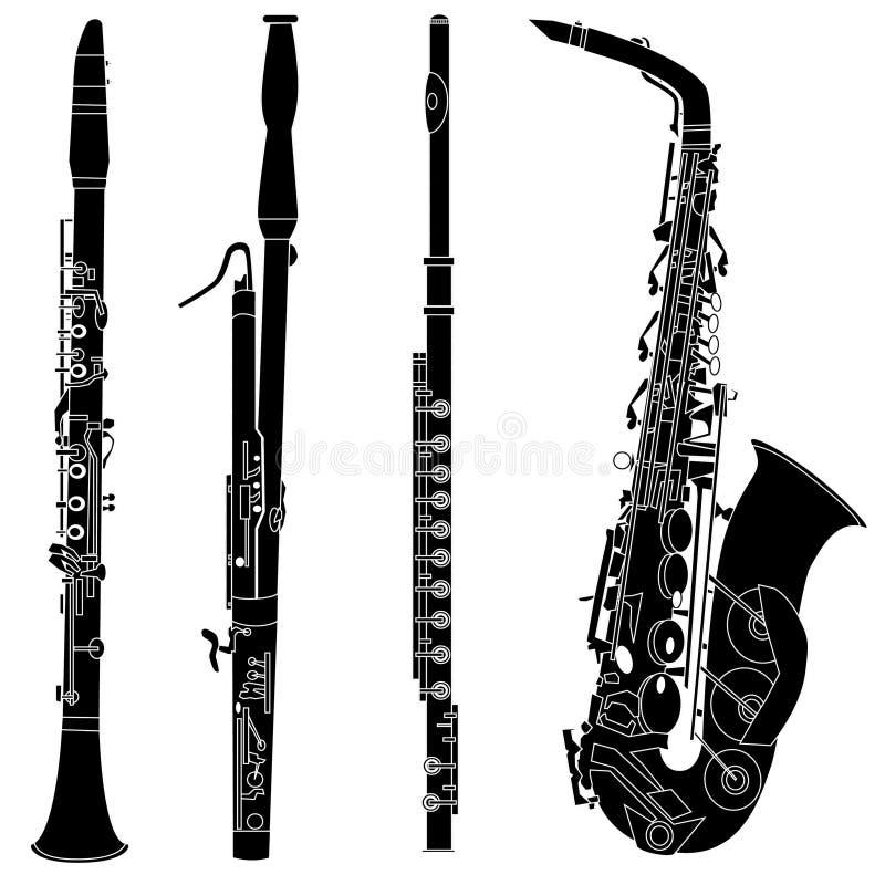 Strumenti musicali del Woodwind nel vettore illustrazione vettoriale