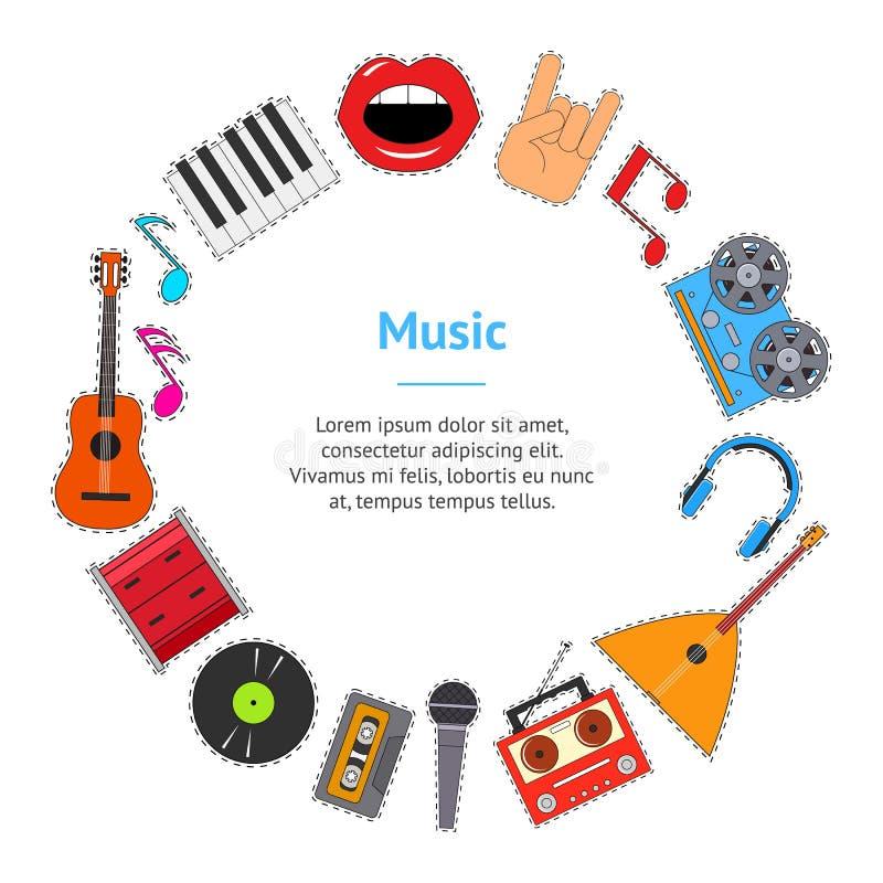 Strumenti musicali e cerchio della carta dell'insegna dell'attrezzatura Vettore illustrazione vettoriale