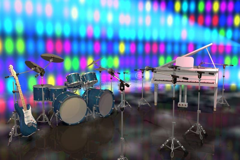 Strumenti musicali su una fase illustrazione vettoriale