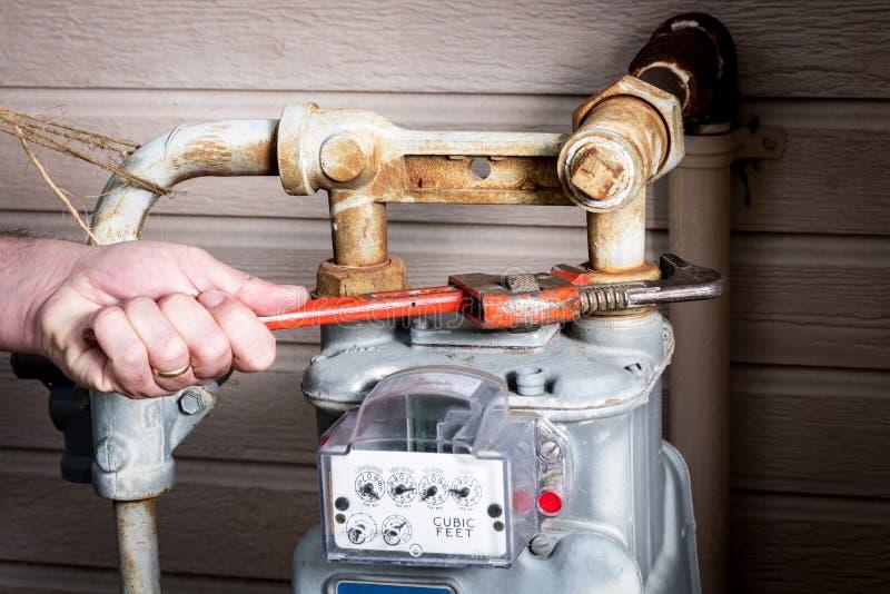 Strumenti utilizzati per lavorare ad un meeter del gas fotografie stock libere da diritti