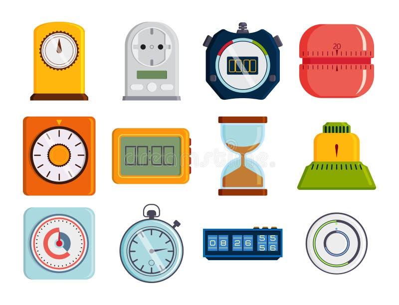 Strumenti variopinti di misura del temporizzatore di vettore degli orologi e cronometri illustrazione di stock