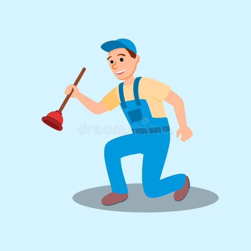 Strumento del tuffatore di Cartoon Character Holding dell'idraulico dell'uomo illustrazione vettoriale