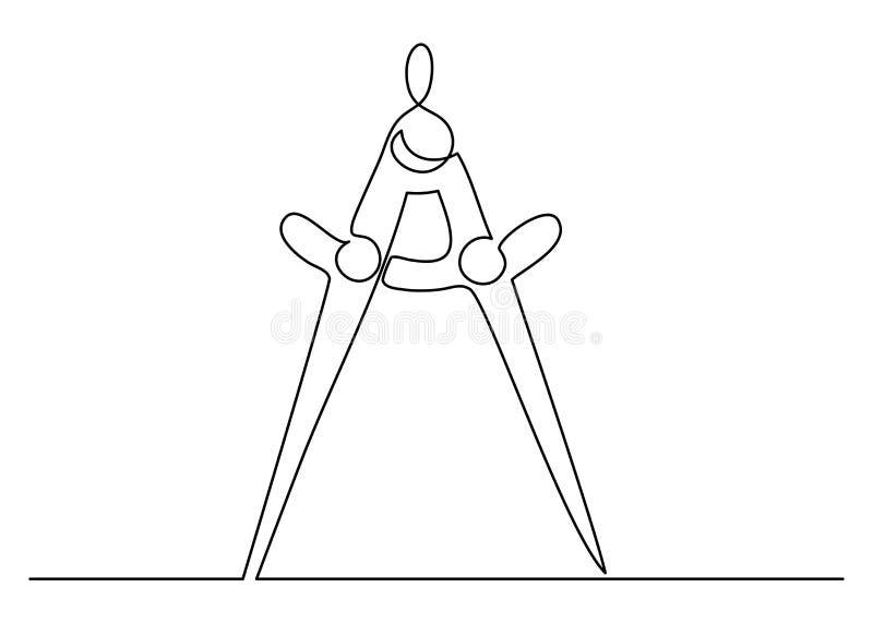 Strumento di decorazione compasso compasso di una linea continua illustrazione vettoriale