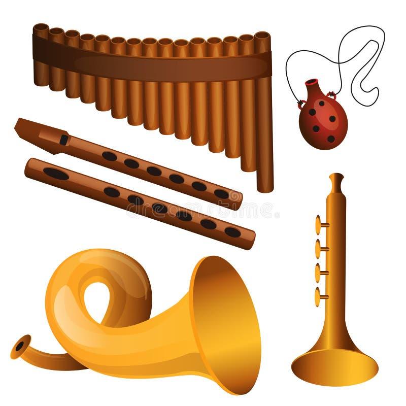 Strumento di musica degli strumenti a fiato illustrazione vettoriale