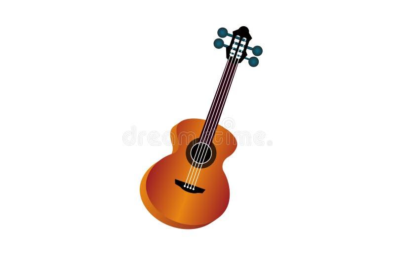 Strumento di musica isolato della chitarra su fondo bianco illustrazione di stock