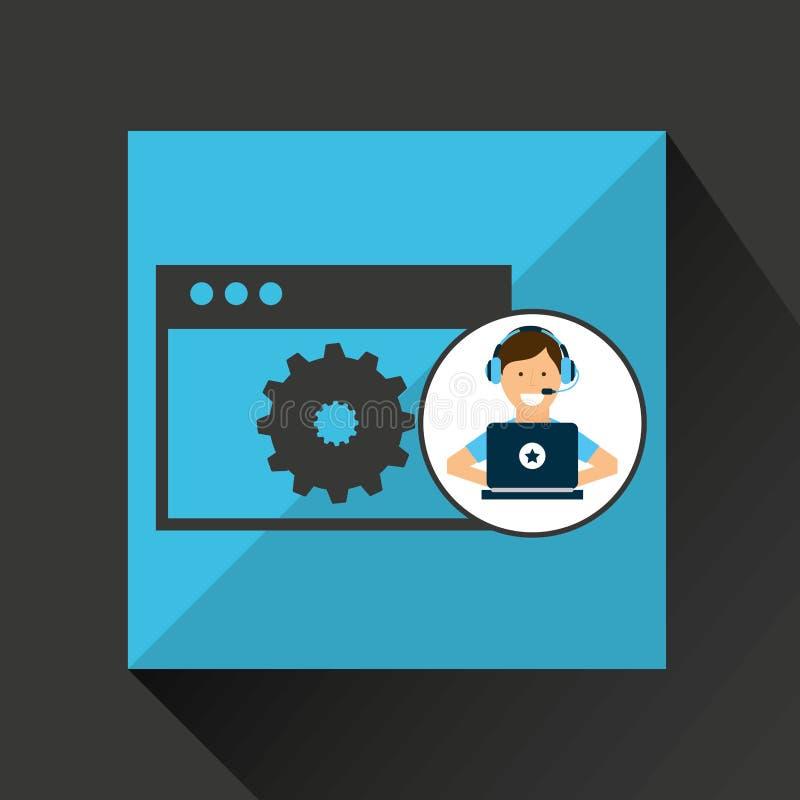 Strumento di programmazione della pagina Web del computer portatile della cuffia avricolare del carattere royalty illustrazione gratis