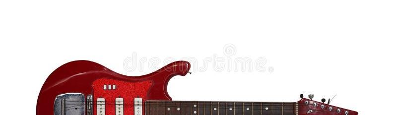 Strumento musicale - fondo bianco della retro chitarra elettrica della siluetta fotografie stock libere da diritti