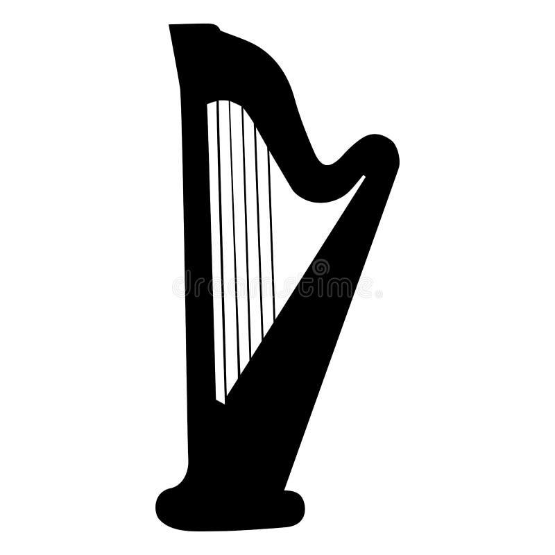 Strumento musicale Illustrazione di vettore dell'arpa della siluetta illustrazione vettoriale