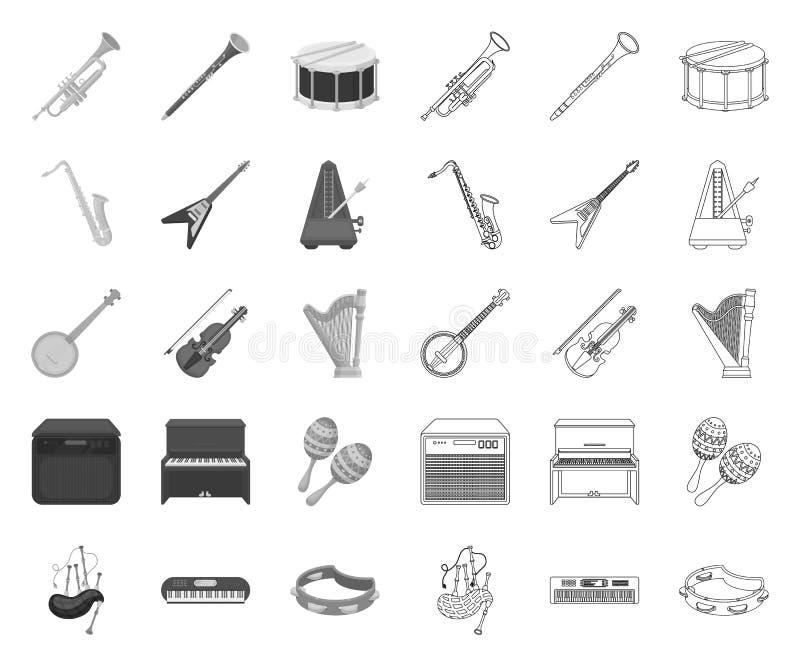 Strumento musicale mono, icone del profilo nella raccolta stabilita per progettazione Lo strumento di vento e della corda vector  illustrazione di stock