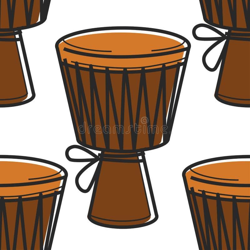 Strumento musicale senza cuciture del modello di simbolo di musica del tamburo africano di tamtam illustrazione vettoriale