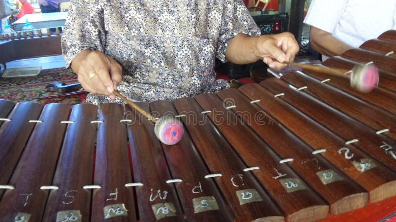 Strumento musicale tailandese della stuoia di bambù fotografia stock libera da diritti