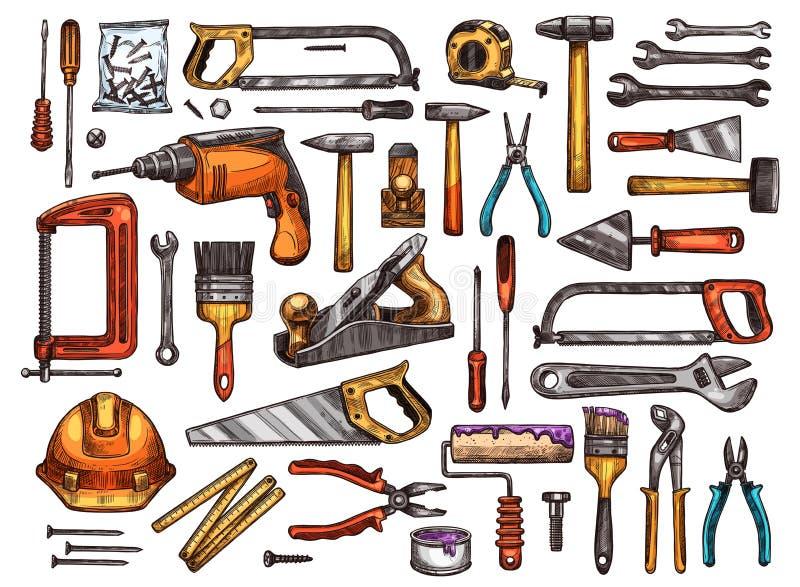 Strumento per lo schizzo del lavoro di riparazione e della costruzione illustrazione vettoriale