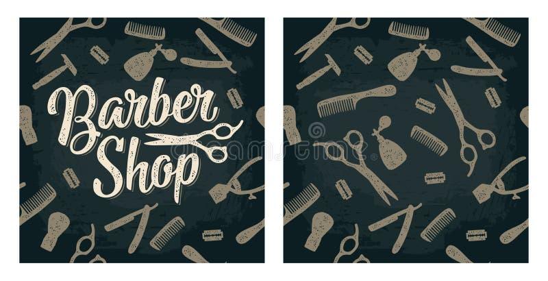 Strumento stabilito del modello senza cuciture per il parrucchiere con iscrizione royalty illustrazione gratis