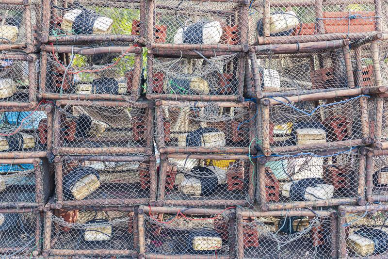 Strumento tradizionale tailandese dell'industria della pesca, fondo del modello immagini stock libere da diritti