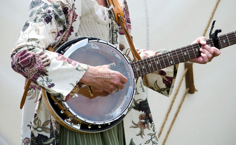 Strumming An Old Banjo Royalty Free Stock Photography