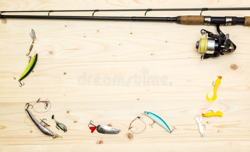Struntsaker, skovel och fartyg Hjälpmedel för att fiska arkivbild