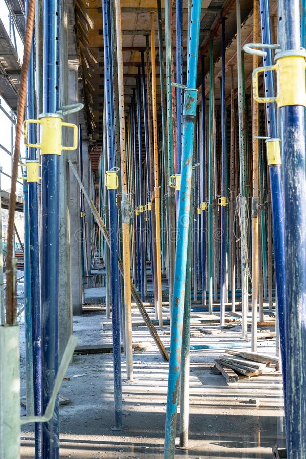 Struts in building structure under construction stock images