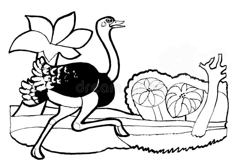 Strutslopp, färgläggningbok, svart och weiswersion stock illustrationer