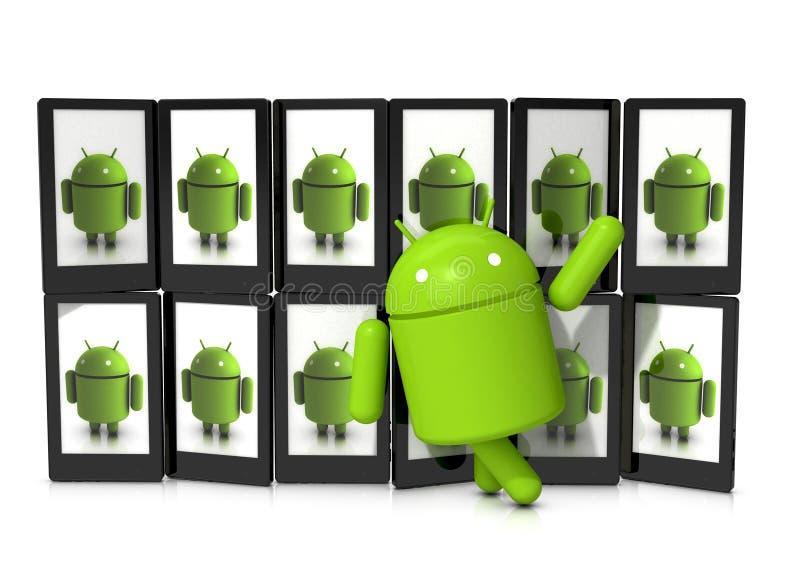 Strutting del carattere del Android illustrazione vettoriale