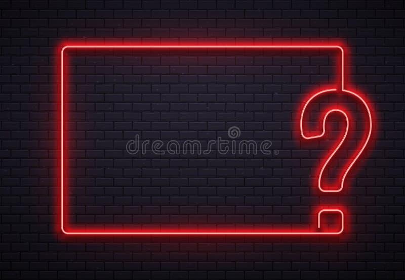 Struttura al neon del punto interrogativo Interroghi l'illuminazione, lampada al neon rossa del punto di interrogazione sul vetto royalty illustrazione gratis