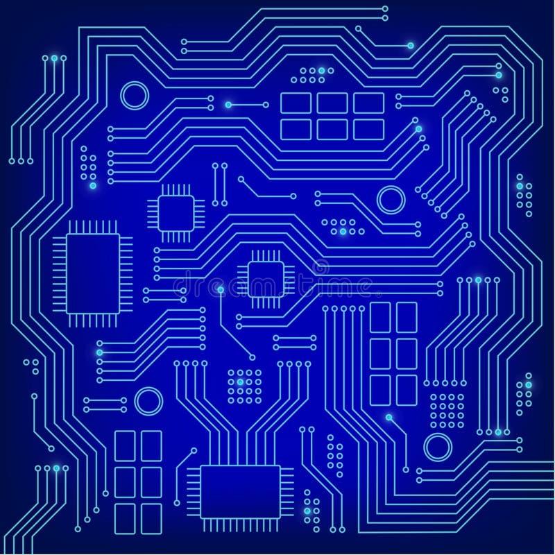 Struttura alta tecnologia del fondo di tecnologia in blu Circuito astratto di tecnologia, fondo di vettore Progettazione piana illustrazione vettoriale