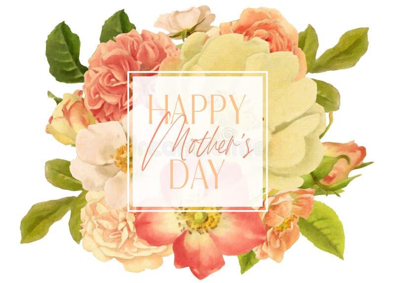 Struttura antica di Rose Mothers Day Floral Bouquet illustrazione vettoriale