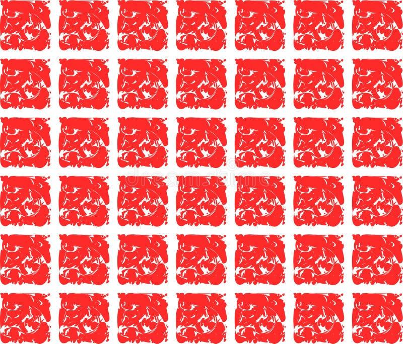 Struttura astratta con i quadrati rossi artistici illustrazione di stock
