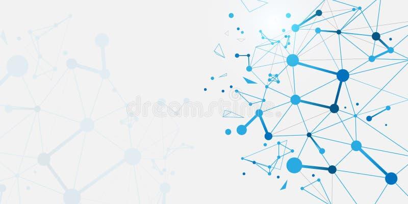 Struttura astratta delle molecole del DNA Fondo di scienza e tecnologia illustrazione vettoriale