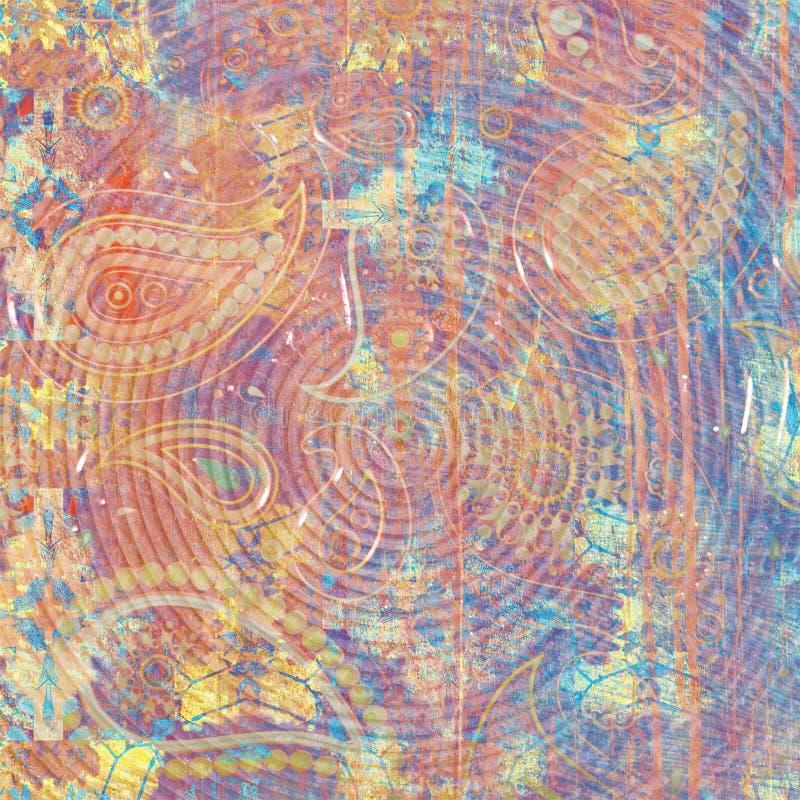 Struttura astratta materiale illustrativo moderno Verniciatura di marmo di effetto Pitture in bianco e nero miste Vernice dorata  illustrazione di stock