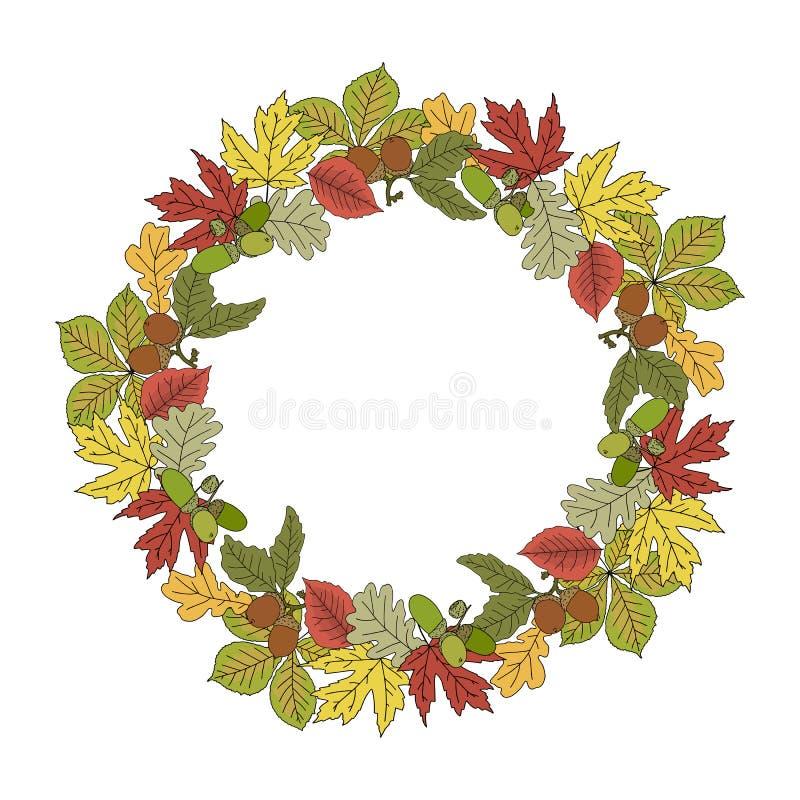 Struttura autunnale della corona con le foglie variopinte e la ghianda royalty illustrazione gratis