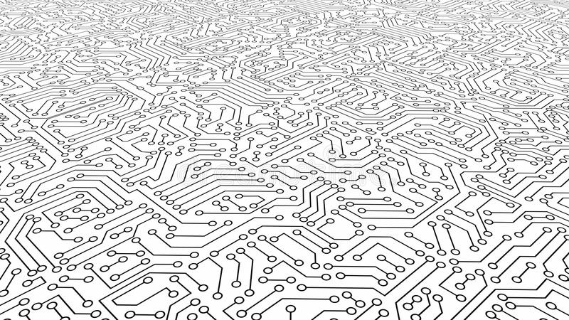 Struttura bianca del modello del circuito Fondo alta tecnologia nella vangata illustrazione di stock