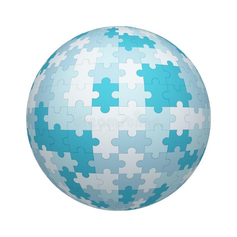 Struttura bianca e blu del modello dei pezzi del puzzle su forma della sfera o della palla isolata su fondo bianco Progettazione  illustrazione di stock