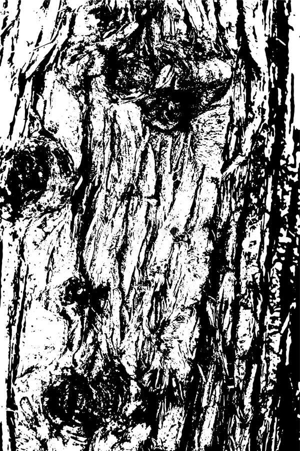 Struttura in bianco e nero afflitta di vettore di lerciume di semitono - vecchio fondo di legno di struttura della corteccia con  royalty illustrazione gratis