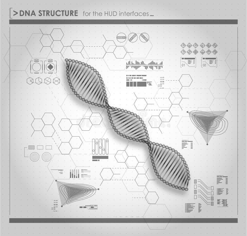 Struttura in bianco e nero del DNA del fondo illustrazione di stock
