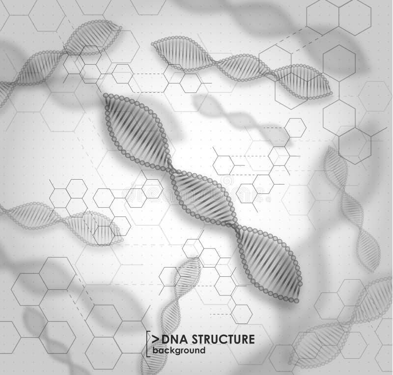 Struttura in bianco e nero del DNA del fondo illustrazione vettoriale