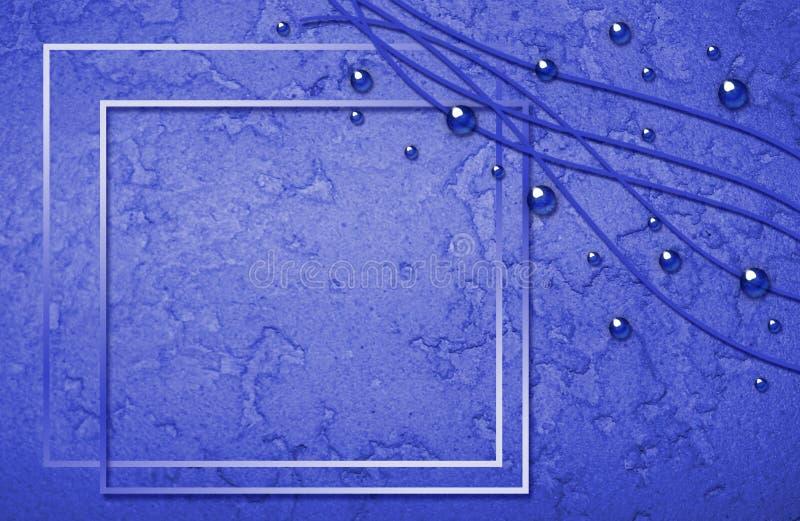 Struttura blu astratta con le bolle e i curles immagini stock
