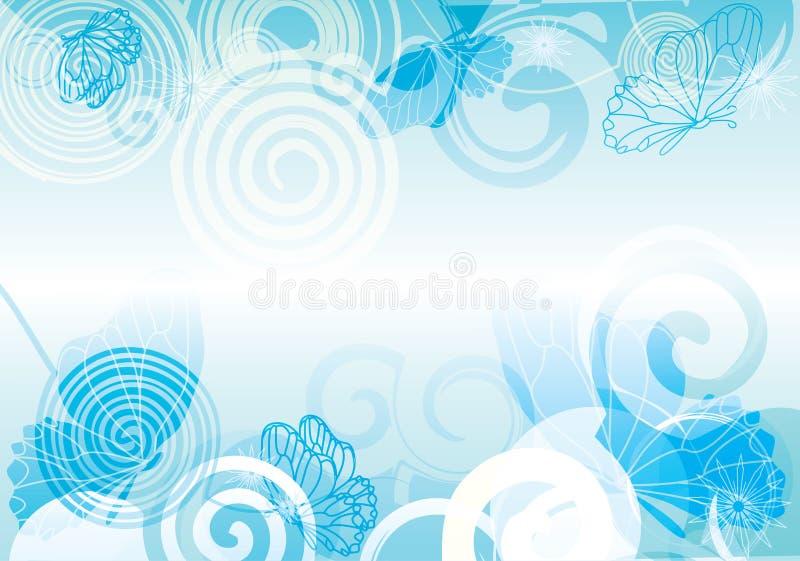 Struttura blu-chiaro del fondo brillante di vettore della farfalla royalty illustrazione gratis
