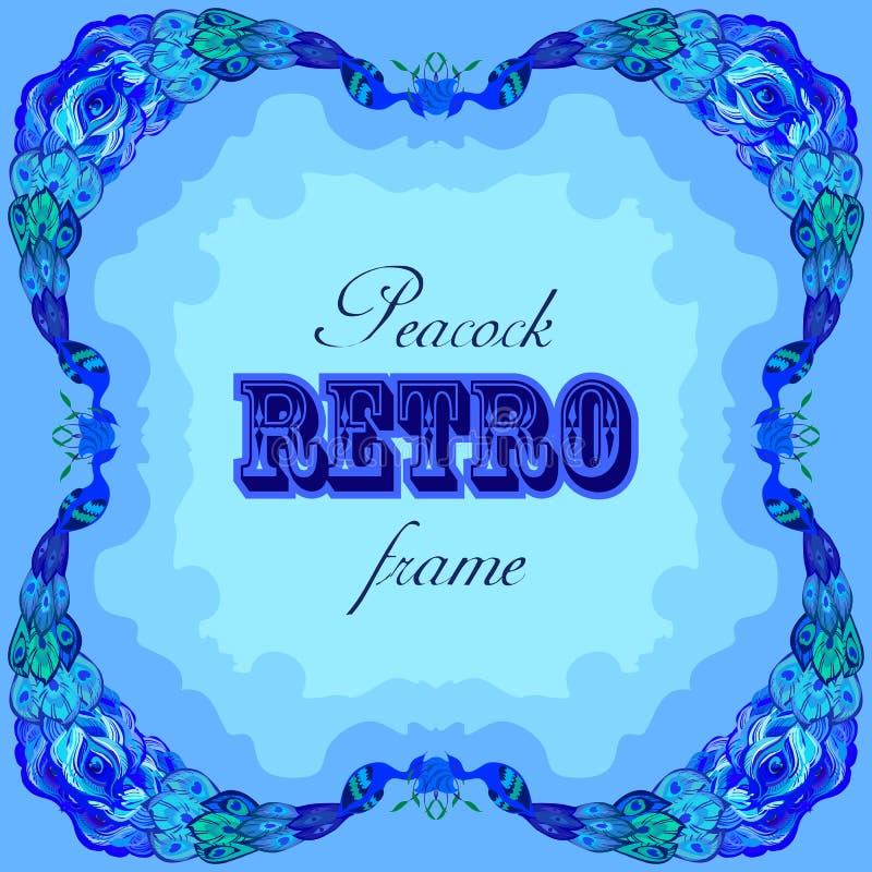 Struttura blu con i pavoni dipinti e la retro etichetta illustrazione di stock