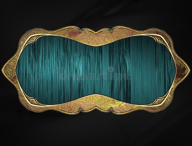 Struttura blu con l'orlo dell'oro Mascherina per il disegno copi lo spazio per l'opuscolo dell'annuncio o l'invito di annuncio, f royalty illustrazione gratis