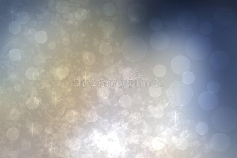 Struttura blu d'argento leggera festiva del fondo del bokeh dell'estratto con i cerchi variopinti e le luci del bokeh Bello conte illustrazione di stock