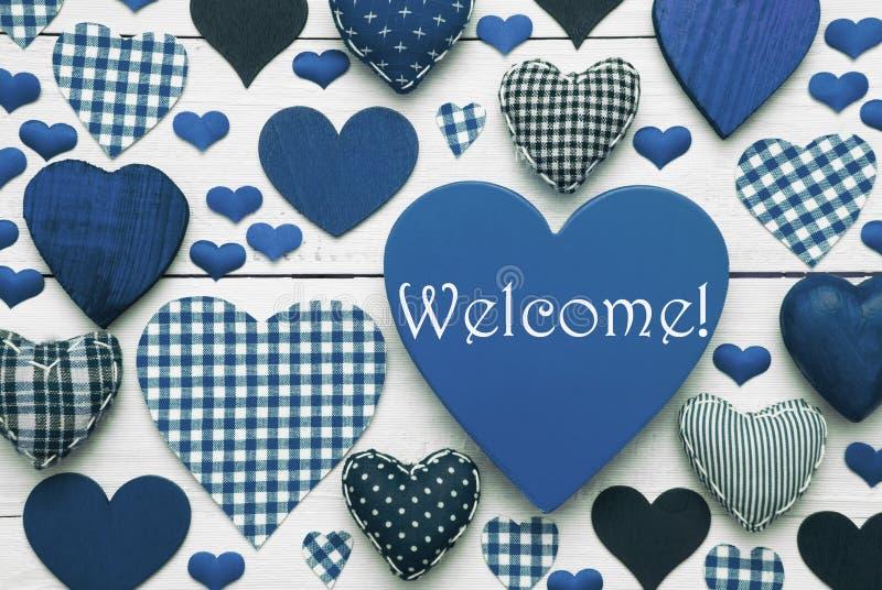 Struttura blu del cuore con il benvenuto immagine stock libera da diritti