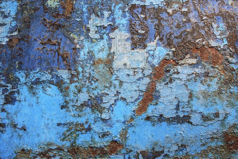 Struttura blu del fondo di lerciume della ruggine del metallo Arrugginito, vecchio, d'annata, fotografie stock