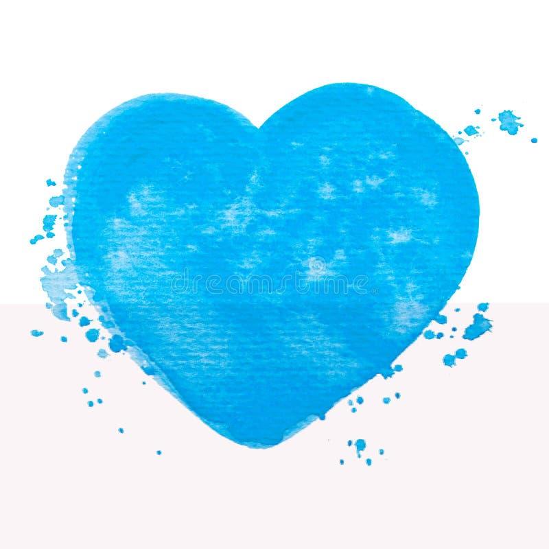 Struttura blu della pittura dell'acquerello del cuore di vettore isolata su bianco per la vostra progettazione illustrazione di stock