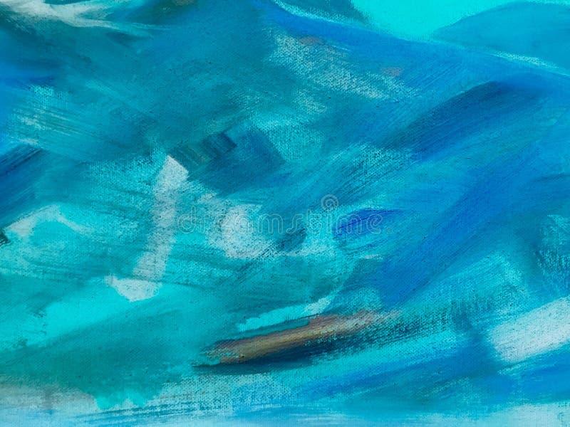 Struttura blu della pittura dell'olio astratto su tela, fondo blu della pittura immagini stock libere da diritti