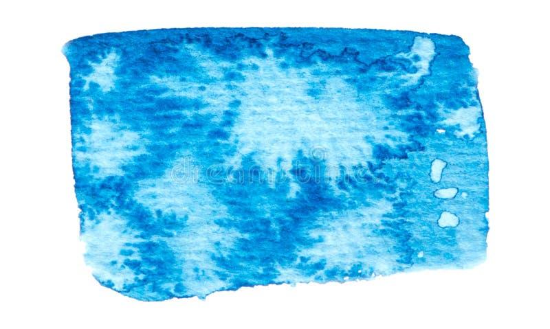 Struttura blu della pittura di vettore isolata sull'insegna bianco- dell'acquerello per la vostra progettazione illustrazione di stock