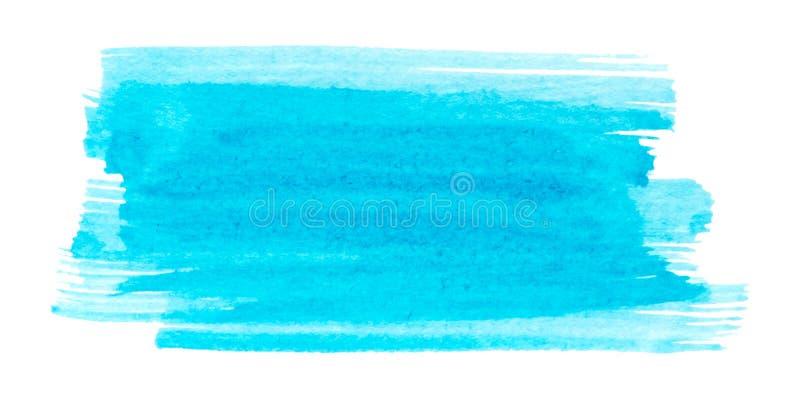 Struttura blu della pittura di vettore isolata sull'insegna orizzontale dell'acquerello bianco- per la vostra progettazione illustrazione di stock