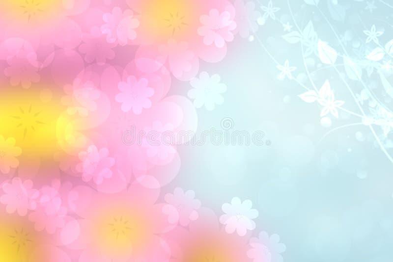 Struttura blu rosa pastello delicata leggera del fondo del bokeh di estate viva della molla vaga estratto con la ciliegia molle l fotografia stock